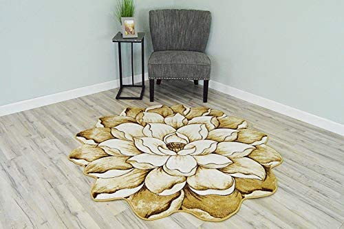 Flowers 3D Effect Hand Carved Thick Artistic Floral Flower Rose Botanical Shape Area Rug Design 301 Beige Brown 6'6''x6'6'' Round