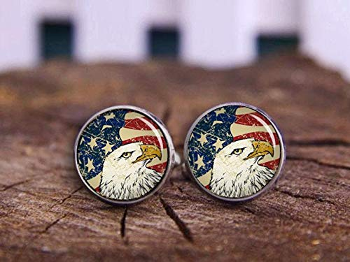 Death Devil Art Picture Cuff Links,Bald Eagle Cufflinks, Tie Clips, American Flag Cufflinks, USA Flag Cuff Links, Patriot Cuff Links, Antique Flag, Vintage Cufflinks, National,Gift of Love