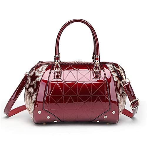 (G-AVERIL 2018 New Patent Leather Lady Shoulder Bag Tote Bag Medium For Women With Sequin Flower Red Wine)