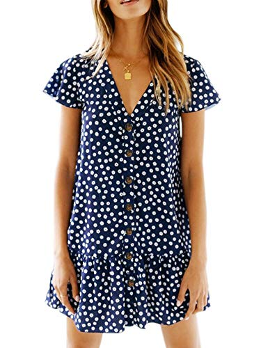 Chuanqi Womens Polka Dot V Neck Short Sleeve Casual Button Down Short Mini T-Shirt Dress (Small,Navy Floral)