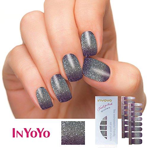 IN YOYO H-201 Bling Bling Nail Polish Strips 3D Glitter Silver Sticker 16PCS Nail Art Patch DIY Nail Decorations ( 1 Sheet/16pcs )