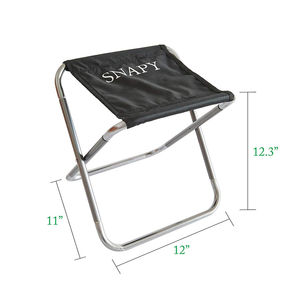 """Fishing Outdoor Ultralight Camping Chair for BBQ Hiking Camping Travel SNAPY 2-Pack Mini Folding Camping Stool 12/""""x11/""""x12.3/"""", Silver Grey Portable Folding Camp Chair Lightweight Camp Stool"""