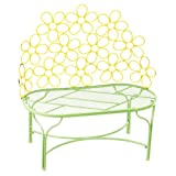 Floral Yellow And Green Metal Sunshine Bench