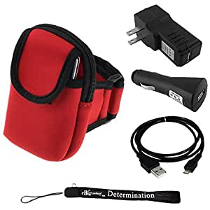 "Running Armband (Fits 10"" up to 17"" Arms) For Gigabyte GSmart G1317D, G1342, G1345, M3447, Rio R1 SmartPhone + Car USB Charger + Home USB Charger + USB Sync Cable + Determination Hand Strap"