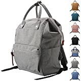 Peicees Wide Open School College Student Backpack Casual Multipurpose Doctor Diaper Backpack Bag Lightweight Travel Bag Laptop Backpack 19L for Women Men Boys and Girls(Gray)