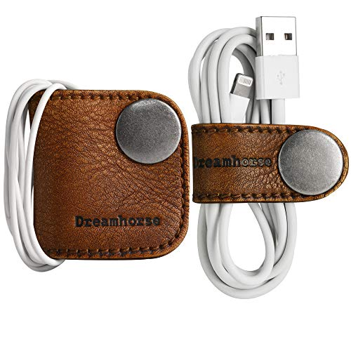 Cord Winder Cord Organizer Earbud Holder Earphone Wrap Earphone Organizer Headset Headphones Earphone Wrap Dreamhorse's Handmade Leather Protection Headphone Cable Pack of 2 Brown by DreamHorse (Image #7)
