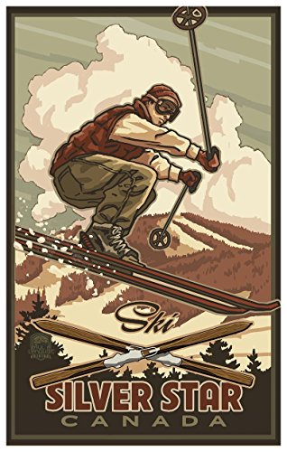 Silver Star Vernon British Columbia Canada Catching Air Skier Travel Art Print Poster by Paul A. Lanquist (12