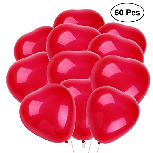 NUOLUX 50pcs Heart Latex Balloons 10 Inch 2.2g Creative Party Balloons Decoration Supplies (Red)