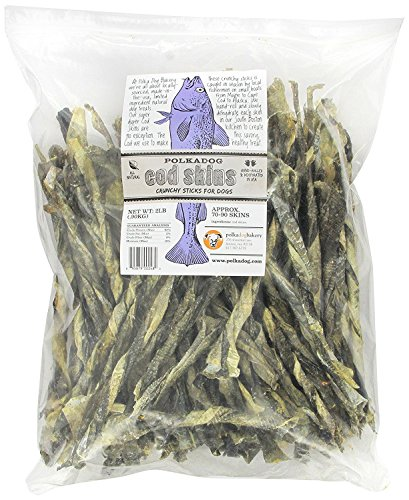 Polka Dog Bakery Cod Skins Crunchy Sticks for Dogs, 2-Pound (Pack of 2) by Polka Dog Bakery