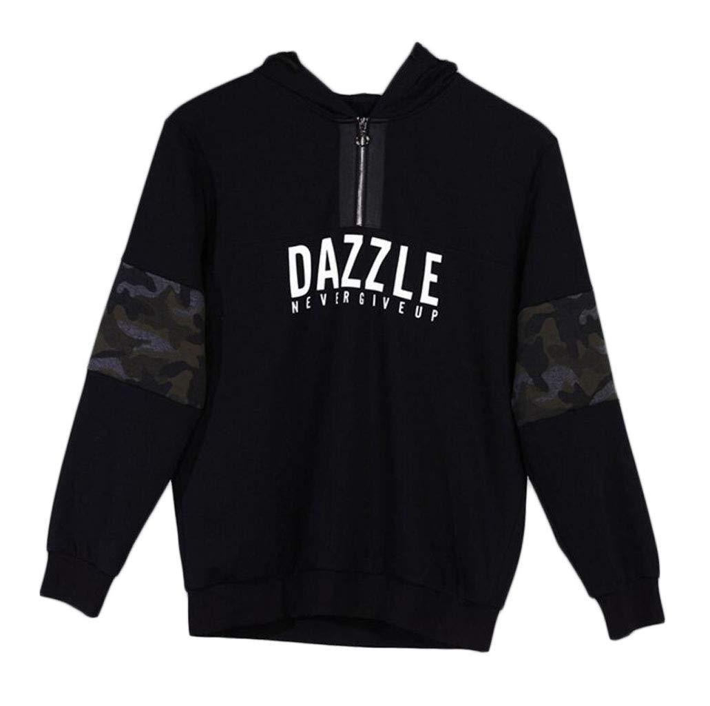 DAFREW Pullover der Männer, bequemer beiläufiger Pullover im Frühjahr und Herbst, Mode-Buchstabe-dekorativer Hoodie (Farbe   SCHWARZ, größe   L)