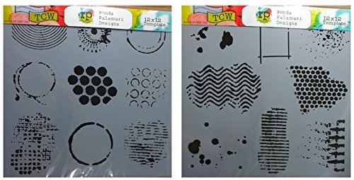 Card Eyelets Scrapbooking (2 Crafters Workshop Mixed Media Stencils | for Arts, Card Making, Journaling, Scrapbooking | 12 inch X 12 inch Templates | Well Rounded, Texturized)