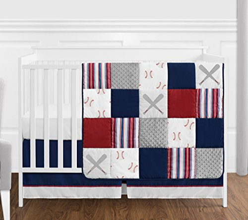 Sweet Jojo Designs Red, White and Blue Baseball Patch Sports Baby Boy Crib Bedding Set Without Bumper - 4 Pieces - Grey Patchwork Stripe
