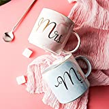 DRAWIGER Porcelain Coffee Mugs Set for Men and Women Mr.&Mrs. Marble Pattern for Coffee and Tea Wedding Anniversary Engagement (Set of 2, Blue-Pink, 14oz/400ml)