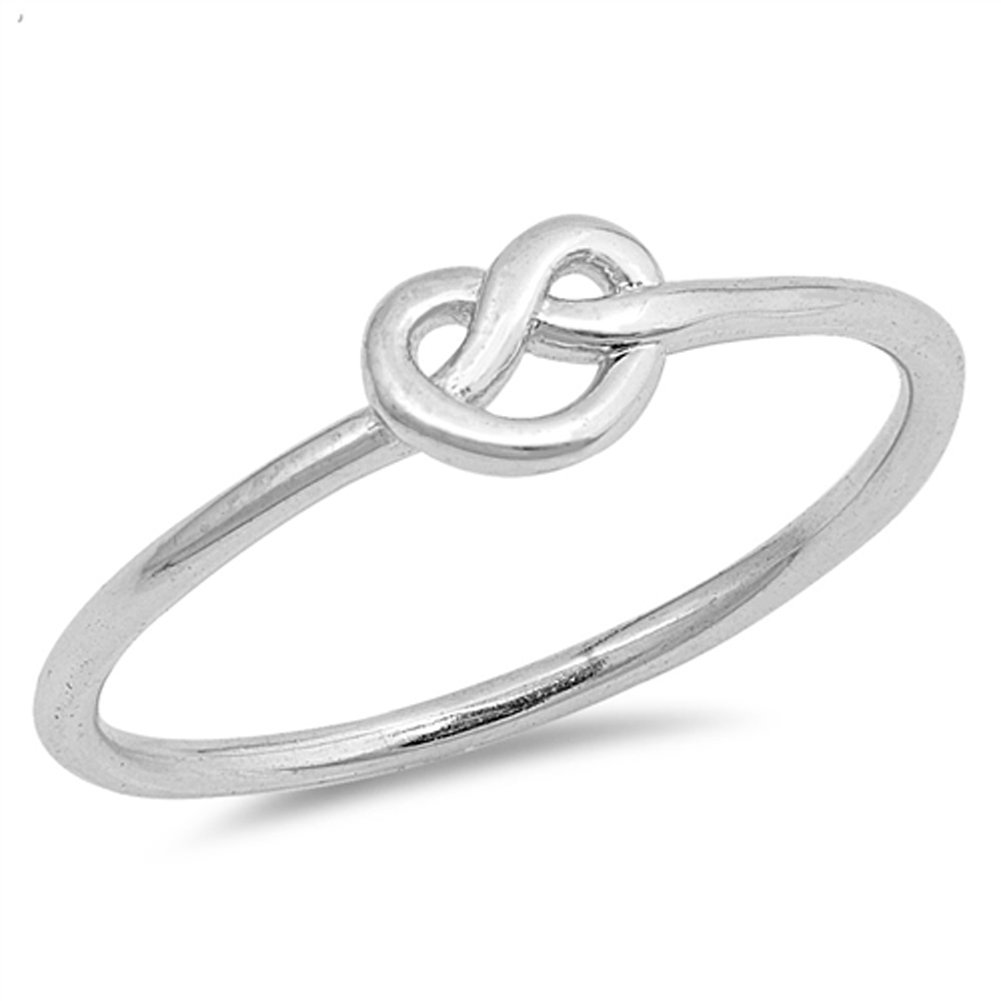 Infinity Heart Love Knot Promise Ring New .925 Sterling Silver Band Sizes 3-10 Sac Silver