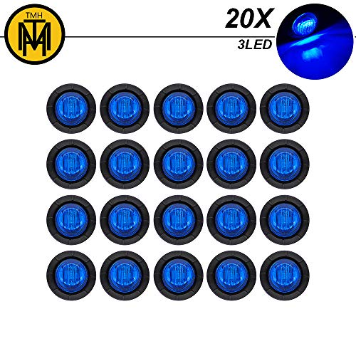 TMH (Pack of 20) 3/4 Mini Round Blue LED Side Indicator Marker Light Front Tail Waterproof with Grommets for Truck Trailer Pickup Lorry SUV Jeep Van Camper Caravan Universal 12V DC Surface Mount 3led