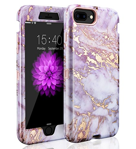 iPhone 6 Plus/6s Plus Case,iPhone 7 Plus Case,iPhone 8 Plus Case,Cute Marble Gilrs Case,SKYLMW Three Layer Heavy Duty Hybrid Protective Cover Case For iPhone 6 Plus/6s Plus/7 Plus/8 Plus Marble Purple