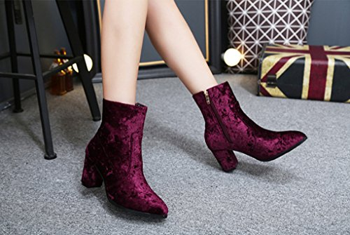 XZ Pointed Short Boots Locomotive Boots Thick High-Heeled Zipper Short Boots Wine Red 5PhLdNc