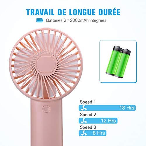 isYoung Mini Ventilateur Portable Plus USB - Batterie Rechargeable de 4000mAh Support 8-20 Heures Temps de Travail pour Camping - Bureau - Sport - Voyage en Été (Rose)