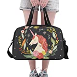Floral Unicorn Travel Duffel Bag Luggage Totes for Weekend Trip