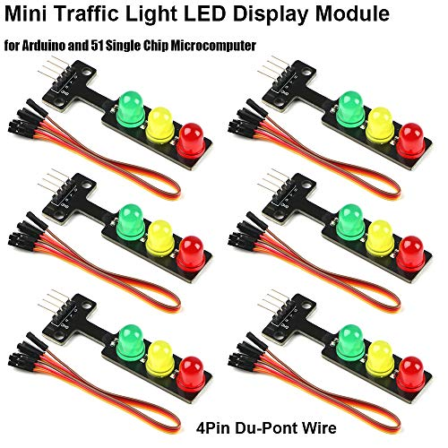 (MakerHawk 6pcs 5V Mini Traffic Light LED Display Module Red Yellow Green 5mm LED Mini-Traffic Light Electronic Building Blocks, with 6pcs 4Pin Du-Pont Wire for Arduino Traffic Light System Model)