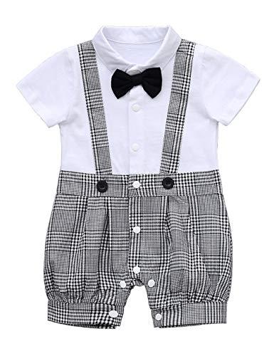 HeMa Island HMD Baby Boy Gentleman White Shirt Bowtie Tuxedo Onesie Jumpsuit Overall Romper(0-18M) ... (90(9-12 Month), - Overalls Boys Cotton