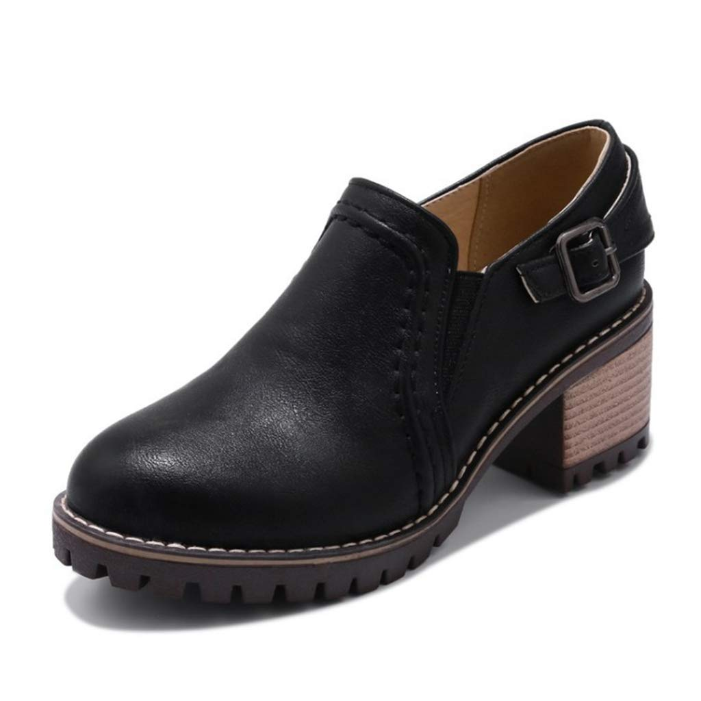 Women's Chunky Heel Ankle Booties Classic Buckle Fashion Round Toe Slip-On Wingtip Oxford Shoes