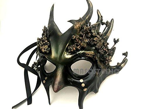 MASQSTUDIO Woodland Antler Gobin Forest Fairy Medusa Demon Halloween Devil Masquerade Ball Mask with Horns (Demon) -