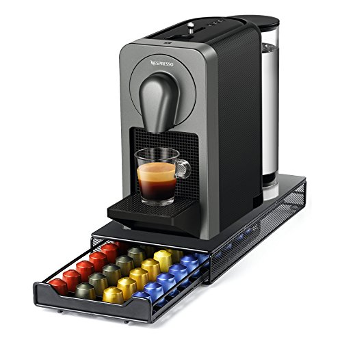 Nespresso Prodigio & Milk Frother Silver Espresso Maker and BONUS 40 Capsule Storage Drawer