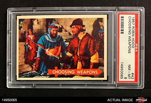 (1957 Topps Robin Hood # 42 Choosing Weapons (Card) PSA 8 - NM/MT)