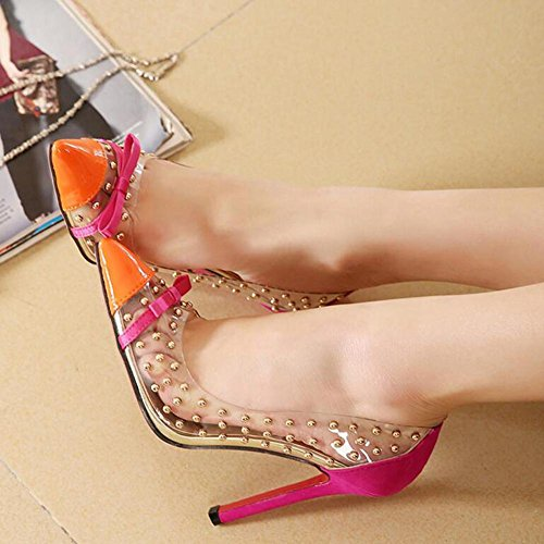 Frauen High Heels Transparente Film Niet Spitz Sandalen 11cm Absatzhöhe Orange