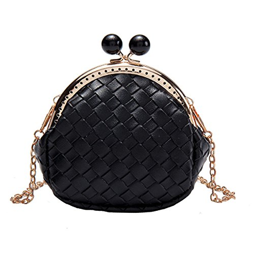- Sun Kea Q Coin Purse Little Princess Crossbody Bags Small Clasp Closure Shoulder Handbag Satchel (Black)