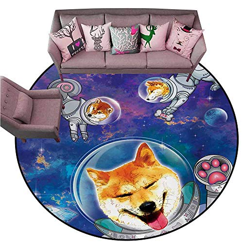 Indoor/Outdoor Rubber Mat Dog,Astronaut Shibas in Space with an Alien Planet Exploring The Unknown Themed Cartoon,Multicolor Diameter 54