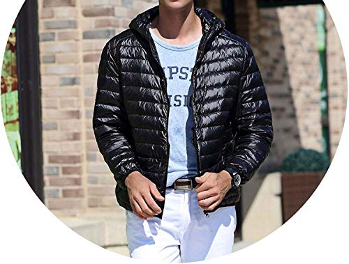 2017 New White Duck Down Jacket Men Autumn Winter Warm Men's Light Thin Duck Down Jacket Coats,Black,S