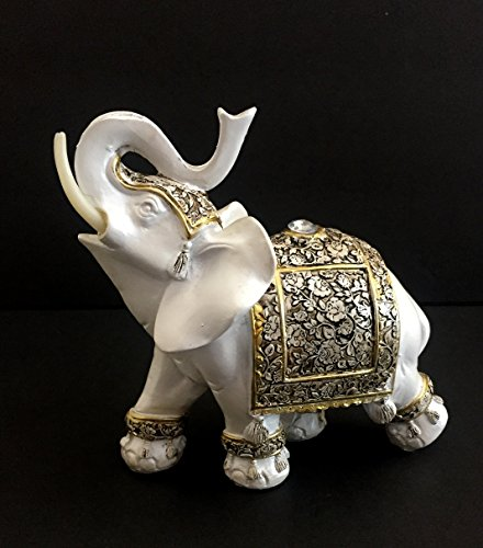 Antique White Finish Decorated Elephant Statue Trunk Up Lucky Elephant Home Decor - OMA BRAND Vintage Elephant Figurine