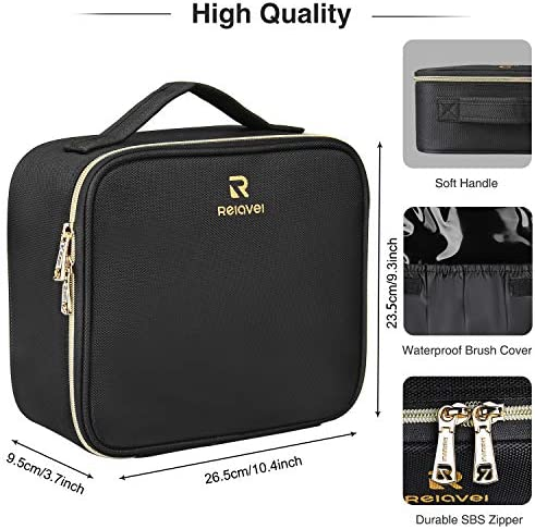 Travel Makeup Case,Chomeiu- Professional Cosmetic Makeup Bag Organizer,Accessories Case, Tools case (Black-M) (Black)