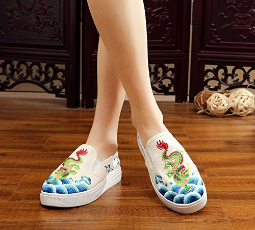 Avacostume Femmes Dragon Broderie Chinoiserie Appartements Slip-on Mocassins Sneaker Chaussures Beige