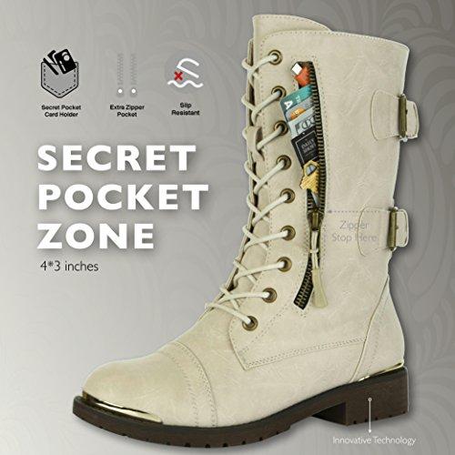 Dailyshoes Femmes Cheville Militaire Lace Up Boucle Bottes De Combat Mi Genou Haute Carte De Crédit Exclusive Poche Bottines Plaque Dor Ivoire