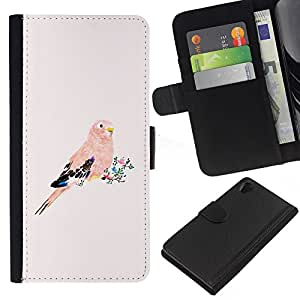 All Phone Most Case / Oferta Especial Cáscara Funda de cuero Monedero Cubierta de proteccion Caso / Wallet Case for Sony Xperia Z2 D6502 // Parrot Pink Peach Bird Floral Feathers