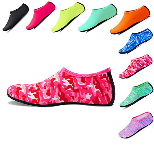 Women's Men's Kid's Water Sports Shoes Aqua Socks Lightweight Quick-Dry Barefoot Beach Pool Surfing Yoga Red Camouflage L