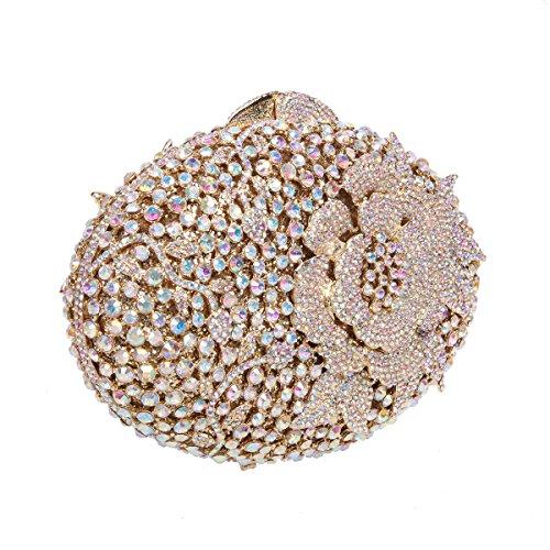 AB Flower Glitter Girls Rhinestones Bonjanvye Purses Handbags Gold Clutch for and 5zSdqw8
