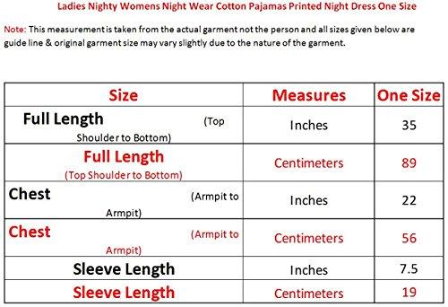 Las nuevas señoras del camisón de las mujeres ropa de dormir de algodón vestido de noche impreso pijamas Un tamaño Moon-Light Pink