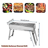 Portbale Charcoal BBQ Grill Stainless Steel Foldable Outdoor Barbecue Grill Barbecue Tool Kits for...