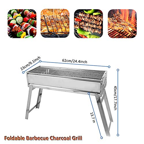 """Portbale Charcoal BBQ Grill Stainless Steel Foldable Outdoor Barbecue Grill Barbecue Tool Kits for Outdoor Picnic Patio Backyard Camping Cooking (23.6""""x9.1"""")"""