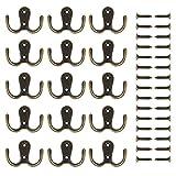 eBoot 15 Pieces Double Prong Robe Hook Retro Cloth Hanger with 30 Pieces Screws (Bronze)