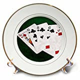 3dRose Alexis Photo-Art - Poker Hands - Poker Hands High Card, Queen to Four - 8 inch Porcelain Plate (cp_270579_1)