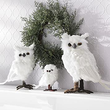 Small White Feather Owls Christmas Decorations Amazoncouk