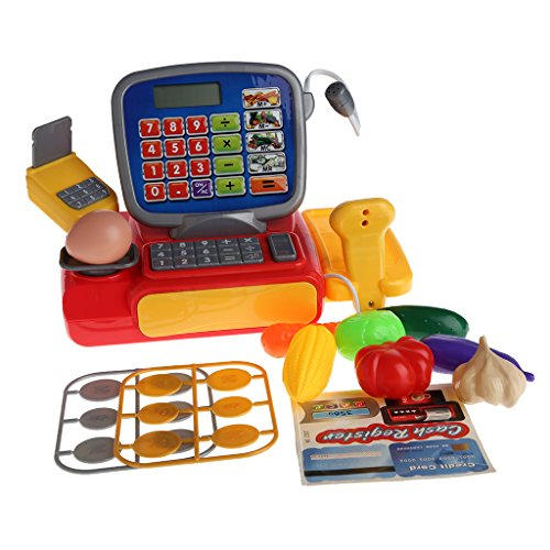 (Jesse Electric Play Pretend Toys Playset Simulation Cash Register with Scanner Weighing Scale for Kids Boys Girls)