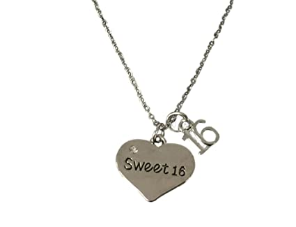 dac76dad72a Image Unavailable. Image not available for. Color  Infinity Collection Sweet  16 Charm Necklace- Girls Sweet 16 Jewelry - Sweet Sixteen Gift for