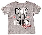 Four Ever Young Boys 4th Birthday Party Shirt, 4 Year Old Birthday Shirt, Tribal Theme Birthday, I...