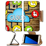 Luxlady Premium Samsung Galaxy S7 Edge Flip Pu Wallet Case IMAGE ID: 34402076 Aerial View of People and Cloud Computing Concepts